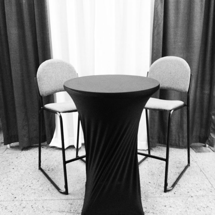 Bistro table with Spandex & Stools
