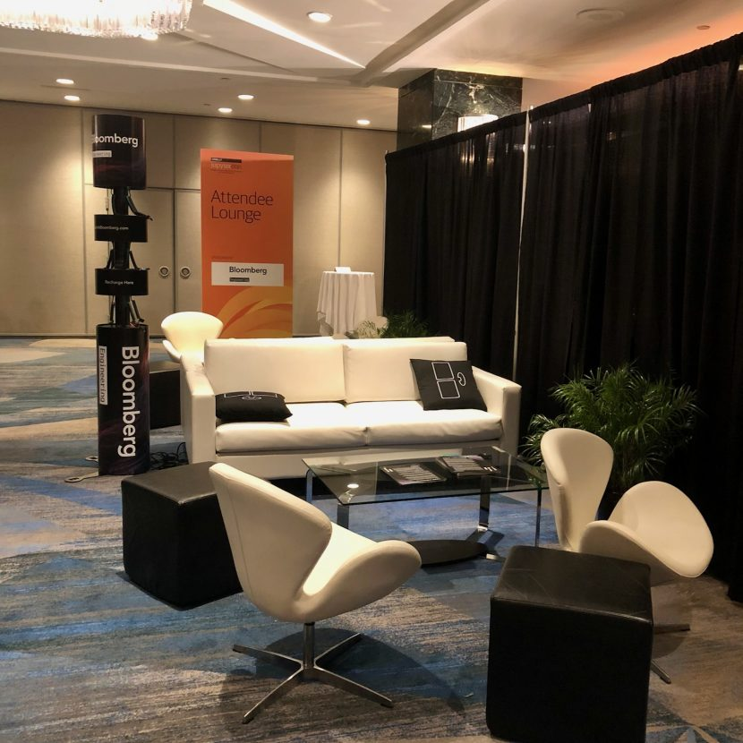 Black & White Attendee Charging Lounge